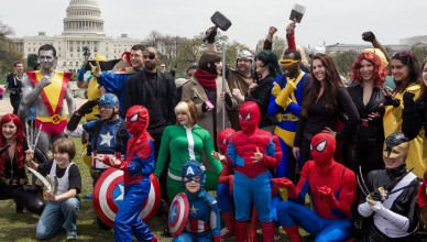 People dressed in superhero-style costumes line up for a photo near the US Capitol in  Washington, DC on April 18, 2014, in an attempt to break a GUINNESS WORLD RECORDS record of people as comic book charactors. They had 237 charactors show up, but needed 1532 to break the record set in China.  The colorful visitors are in Washington, DC, attending the Awesome Con 2014, a celebration of all things pop culture, with a focus on comic books, science fiction, and fantasy, at the Washington Convention Center.      AFP Photo/Paul J. Richards        (Photo credit should read PAUL J. RICHARDS/AFP/Getty Images)